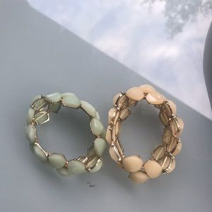 2 jeweled bracelet, mint and peach
